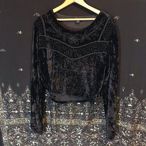 🌟Mystical Vintage Black Velvet Embroidered Blouse